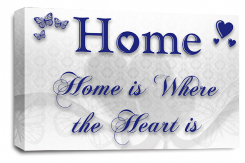 Home Quote Wall Art Picture White Blue Love Print